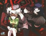 1boy 4girls amagi_yukiko black_hair blue_hair brown_hair evil_grin evil_smile grey_hair grin hand_on_another's_head harem hat kujikawa_rise looking_at_viewer multiple_girls narukami_yuu official_art open_collar persona persona_4 satonaka_chie scan school_uniform shadow_(persona) shirogane_naoto smile sogabe_shuuji yellow_eyes