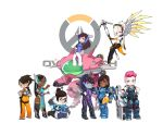 >:) 6+girls :d absurdres armor armored_boots arms_up black-framed_eyewear black_boots black_legwear blonde_hair blue_coat blue_dress blue_eyes blue_gloves blue_skin blush boots breasts brown_boots brown_eyes brown_hair cleavage clenched_hand closed_mouth coat copyright_name d.va_(overwatch) dark_skin dress earrings facial_scar fur_trim glasses gloves goggles grin gun hair_ornament hairpin hand_on_hip hands_on_hips head_tilt helmet highres holding holding_gun holding_staff holding_weapon jewelry long_hair looking_at_viewer looking_back mechanical_arm medium_breasts mei_(overwatch) meka_(overwatch) mercy_(overwatch) minigirl multiple_girls open_mouth overwatch pharah_(overwatch) pilot_suit pink_hair ponytail purple_hair rifle scar semi-rimless_glasses short_hair sitting smile staff symmetra_(overwatch) thigh-highs thumbs_up tracer_(overwatch) under-rim_glasses very_dark_skin visor wariza weapon white_background white_gloves widowmaker_(overwatch) wings xiang_wan_wei_wan yellow_eyes zarya_(overwatch)