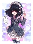 1girl artist_name black_hair blue_eyes bubble choker dress frilled_dress frills hair_over_one_eye hairband highres jcm2 lucy_loud open_mouth signature skirt_hold smile solo striped striped_legwear the_loud_house thigh-highs translation_request v zettai_ryouiki