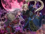2boys bad_proportions blonde_hair blue_(saga_frontier) blue_eyes butterfly dagger em_crazy eye_contact fur_trim jewelry long_hair looking_at_another male_focus moon multiple_boys necklace night night_sky ponytail red_eyes rouge_(saga_frontier) saga saga_frontier scarf sheath sheathed siblings sky tagme twins weapon white_hair