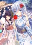 2girls :d ^_^ akatsuki_(kantai_collection) alternate_costume aruka_(alka_p1) blue_eyes blush candy_apple closed_eyes cotton_candy fireworks floral_print flower_ornament fox_mask hair_between_eyes hair_ornament hammer_and_sickle hibiki_(kantai_collection) japanese_clothes kantai_collection kimono long_hair long_sleeves looking_at_viewer mask mask_on_head multiple_girls night night_sky obi open_mouth purple_hair remodel_(kantai_collection) sash silver_hair sky smile star star_(sky) verniy_(kantai_collection) water_yoyo wide_sleeves yukata