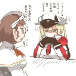 2girls blonde_hair brown_hair check_translation gendou_pose glasses gloves graf_zeppelin_(kantai_collection) hands_clasped hat kantai_collection lowres multiple_girls no_mouth no_nose open_mouth rebecca_(keinelove) roma_(kantai_collection) shaded_face sweat translated translation_request