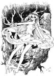 1girl absurdres alternate_costume barefoot bookshelf candle clownpiece dated dress highres ko_kita laurel_crown long_hair monochrome open_mouth smile solo torch touhou tree