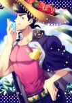 1boy adam's_apple anchor_symbol aqua_eyes collarbone diamond earrings flower gakuran hand_on_hip hat hat_flower heart higashikata_jousuke jacket_on_shoulders jewelry jojo_no_kimyou_na_bouken male_focus muscle pectorals pin plant pompadour profile purple_hair school_uniform shiron_(shiro_n) smile solo stud_earrings sun_hat tongue tongue_out upper_body zipper