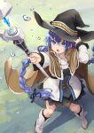 1girl blue_eyes blue_hair braid cloak hat highres hinoki_yuu holding holding_staff mage mushoku_tensei roxy_migurdia solo staff witch_hat