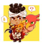 1boy ? blue_eyes brown_eyes brown_hair chibi claws crossover dark_skin dark_skinned_male earrings facial_mark green_eyes headband jewelry jojo_no_kimyou_na_bouken koma_saburou lips magician's_red male_focus mohammed_avdol outline pokemon pokemon_(creature) raised_eyebrow robe spoken_question_mark spoken_sweatdrop stand_(jojo) sweatdrop torchic wrist_cuffs