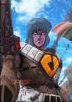 alien angry armor bad_end blurry_vision choujikuu_yousai_macross clouds dagova_(artist) dirty ejection ejection_seat emblem giant grey_hair gunpod helmet highres insignia looking_at_viewer maclone macross motion_blur parachute pilot pilot_suit purple_skin quamzin_kravshera science_fiction smoke spacesuit translation_request u.n._spacy watermark you_gonna_get_raped zentradi