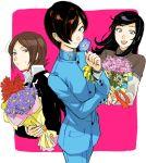 1girl 2boys aimai-me amano_maya black_hair bouquet brown_hair flower kurosu_jun multiple_boys persona persona_2 school_uniform suou_tatsuya