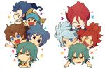 6+boys aqua_hair blue_eyes blue_hair blush brown_hair chibi closed_eyes gloves headband inazuma_eleven_(series) inazuma_eleven_go kageyama_hikaru kariya_masaki kiyama_hiroto male_focus matsukaze_tenma multiple_boys nagumo_haruya nishizono_shinsuke open_mouth raimon raimon_soccer_uniform redhead riho simple_background soccer_uniform sportswear star suzuno_fuusuke tsurugi_kyousuke white_background yellow_eyes