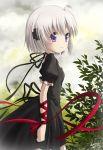 1girl highres kagari_(rewrite) kem_kem rewrite ribbon short_hair silver_hair solo violet_eyes