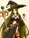 1girl black_dress breasts candy cleavage dress green_eyes green_hair halloween kid_icarus kid_icarus_uprising long_hair looking_at_viewer navel palutena pumpkin side_slit smile solo striped striped_legwear torn_clothes very_long_hair witch