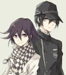2boys asuna_(doruru-mon) black_hair checkered checkered_scarf coat danganronpa double-breasted green_eyes grey_background hair_over_one_eye hat highres looking_at_viewer male_focus multiple_boys new_danganronpa_v3 purple_hair scarf short_hair simple_background smile upper_body violet_eyes