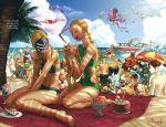 6+boys 6+girls absurdres alex_(street_fighter) antenna_hair aura azam bandana barefoot beach beach_chair beach_umbrella beard bikini bird birdie_(street_fighter) blue_sky boat braid braiding_hair cake cammy_white chun-li coconut commentary crimson_viper dark_skin decapre dhalsim everyone f.a.n.g facial_hair feet fire flying food gouki grill grilling hairdressing han_juri highres ibuki_(street_fighter) ice_cream juni kanzuki_karin ken_masters laura_matsuda li-fen mask multiple_boys multiple_girls muscle mustache ocean palm_tree pnzrk rainbow_mika rashid_(street_fighter) sand sean_matsuda siblings sky smile stomach street_fighter street_fighter_v sunglasses swimsuit toes toned tree turban udon_entertainment umbrella urien vega water watercraft zangief
