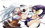 2girls absurdres black_hair blue_eyes blue_skirt brown_skirt chouun_shiryuu closed_eyes earrings fingerless_gloves gloves hair_over_one_eye highres holding holding_sword holding_weapon huge_filesize ikkitousen jewelry kan'u_unchou katana long_hair magatama_earrings midriff multiple_girls navel pleated_skirt polearm red_gloves rin-sin shirt silver_hair simple_background skirt sword very_long_hair weapon white_background white_gloves white_legwear white_shirt