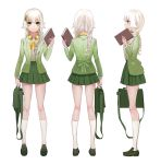 1girl antweiyi bag book braid green_eyes green_shoes green_skirt hair_ornament handbag headphones headphones_around_neck holding holding_book kneehighs long_hair multiple_views profile school_uniform shoes skirt socks standing white_hair white_legwear