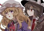 2girls black_hat blonde_hair bow bowtie brooch brown_coat brown_hair coat commentary_request e.o. eyebrows eyebrows_visible_through_hair hair_between_eyes hair_ribbon hand_on_another's_shoulder hat hat_bow jewelry long_hair maribel_hearn mob_cap multiple_girls necktie open_mouth orange_eyes purple_coat red_bow red_bowtie red_necktie ribbon simple_background smile touhou tress_ribbon upper_body usami_renko violet_eyes white_background white_bow white_hat wing_collar