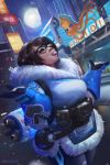 1girl billboard brown_hair city eyebrows fur_collar glasses gloves hair_ornament hairpin mei_(overwatch) moon night outstretched_arms overwatch rodrigo_ramos snow snowing solo thick_eyebrows tongue tongue_out
