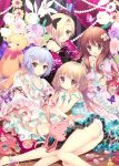 4girls :3 :d :o ass bare_legs bare_shoulders barefoot black_ribbon blonde_hair blue_dress blue_hair bow bowtie brown_eyes brown_hair butterfly chin_rest detached_sleeves dress earrings eyebrows eyebrows_visible_through_hair flower frilled_dress frills futaba_anzu hair_between_eyes hair_ornament hair_over_one_eye hair_ribbon hairclip heart highres idolmaster idolmaster_cinderella_girls indoors jewelry koshimizu_sachiko lipstick long_hair looking_at_viewer low_twintails makeup makeup_brush moroboshi_kirari multiple_girls open_mouth own_hands_together panties red_ribbon ribbon shirasaka_koume shiwasu_horio short_hair short_sleeves sleeveless sleeveless_dress sleeves_past_wrists smile star star_hair_ornament strap_slip stuffed_animal stuffed_bunny stuffed_toy teddy_bear twintails underwear white_panties