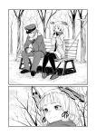 1boy 1girl admiral_(kantai_collection) bench blush eating gloves hat headgear kantai_collection long_hair monochrome murakumo_(kantai_collection) nathaniel_pennel pantyhose peaked_cap polearm scarf sitting smile spear sweater weapon