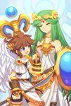 1boy 1girl blue_eyes breasts brown_hair green_hair kid_icarus kid_icarus_uprising long_hair palutena pit_(kid_icarus) short_hair smile wings wusagi2