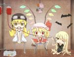 3girls barefoot bat bat_wings blonde_hair blood blood_bag blush_stickers button_eyes chair chibi crossover doll dress drinking_blood empty_eyes evangeline_a_k_mcdowell fangs flandre_scarlet goggles goggles_on_head hat helmet hidarikata indoors legs_up long_hair mahou_sensei_negima! mob_cap monogatari_(series) multiple_girls one_eye_closed oshino_shinobu paw_print red_eyes remilia_scarlet short_sleeves side_ponytail sitting skirt skirt_set sleeveless slit_pupils smile touhou trait_connection vampire very_long_hair wings yellow_eyes