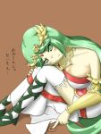 1girl armlet bangs blush breast_press breasts choker cleavage crying drawing dress fingernails frilled_legwear frown gem goddess green_eyes green_hair high_heels jewelry kid_icarus kid_icarus_uprising large_breasts long_hair mismatched_footwear namaixy necklace nintendo palutena parted_bangs pendant sad sandals side_slit sitting spiral strapless strapless_dress swept_bangs tears thigh-highs tiara translation_request vambraces very_long_hair