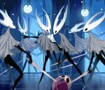 6+others arizuka_(catacombe) bug cloak commentary_request grey_cloak highres holding holding_paper holding_sword holding_weapon hollow_knight horns insect lamp looking_at_another multiple_others paper rain sword weapon white_helmet window