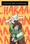 1boy :> androgynous animated animated_gif artist_name asriel_dreemurr blank_eyes blush blush_stickers brown_hair chara_(undertale) closed_eyes commentary controller english fangs furry game_console game_controller height_difference hug nintendo_64 o_o open_mouth peppermintbee pun shirt source_quote spoilers striped striped_shirt sweater tears trolling undertale watermark