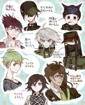 6+boys ahoge baseball_cap beanie beard black_hair blue_eyes blush_stickers brown_hair checkered checkered_scarf covered_mouth danganronpa dark_skin ear_piercing facial_hair gakuran glasses green_eyes green_hair green_necktie grey_eyes hat hat_over_one_eye kurome1127 long_hair male_focus medal messy_hair multiple_boys muscle necktie new_danganronpa_v3 peaked_cap piercing power_armor purple_hair red_eyes scarf school_uniform shirt short_hair smile striped striped_shirt violet_eyes