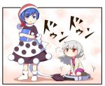 2girls =3 apron black_dress blue_eyes blue_hair blush bobby_socks book book_hug chibi doremy_sweet dress full_body half_updo hat holding holding_book jacket kishin_sagume long_sleeves looking_at_another multiple_girls nightcap open_clothes open_jacket pom_pom_(clothes) purple_dress red_eyes short_hair short_sleeves silver_hair single_wing sitting socks sweat tamahana tapir_tail touhou v_arms vacuum_cleaner waist_apron wariza white_legwear white_wings wings