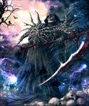 bird black_cloak cross crow death_(entity) glowing glowing_eyes graveyard grim_reaper kamigoku_no_valhalla_gate kei-suwabe magic moon outdoors pile_of_skulls purple_sky red_eyes skeleton tree