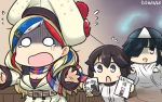 3girls animalization belt beret black_hair blonde_hair blue_eyes blue_hair brown_eyes chasing commandant_teste_(kantai_collection) commentary double-breasted ghost hair_over_one_eye hamu_koutarou hat hayashimo_(kantai_collection) hayasui_(kantai_collection) highres hitodama jacket japanese_clothes kantai_collection kimono kumano_(kantai_collection) long_hair manga_(object) multicolored_hair multiple_girls o_o plaid plaid_scarf pom_pom_(clothes) redhead running scarf short_hair streaked_hair suzuya_(kantai_collection) tama_(kantai_collection) tears translated triangular_headpiece white_hair white_jacket