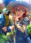 1girl ahoge animal bag bird bird_on_arm blue-and-yellow_macaw blush brown_hair commentary_request day forest hair_between_eyes hair_bobbles hair_ornament handbag hat highres idolmaster idolmaster_million_live! lens_flare light_rays macaw nature one_eye_closed open_mouth outdoors overalls parrot red10 shirt short_sleeves smile straw_hat striped striped_shirt sunbeam sunlight suspenders upper_body yabuki_kana yellow_eyes
