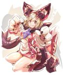 1girl :d animal_costume bangs blonde_hair blush claws cosplay costume djeeta_(granblue_fantasy) dragon_costume dragon_horns dragon_tail dress fake_horns fake_tail gloves granblue_fantasy hair_between_eyes hairband haku_(sabosoda) horns looking_at_viewer open_mouth orange_eyes paw_gloves paws short_dress short_hair smile solo sparkle tail vee_(granblue_fantasy) vee_(granblue_fantasy)_(cosplay)