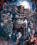 armor cyclops full_body glowing glowing_eye kamigoku_no_valhalla_gate kei-suwabe mace monster no_humans one-eyed original pile_of_skulls red_eyes shield shoulder_armor skull_necklace standing weapon