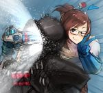 1boy 1girl :p bangs black-framed_eyewear brown_eyes brown_hair bullying coat fur_trim garakuta glasses gloves hair_bun hair_ornament hair_stick heart heart-shaped_pupils highres looking_at_viewer mei_(overwatch) one_eye_closed overwatch reaper_(overwatch) short_hair shotgun_shells sidelocks smile symbol-shaped_pupils tongue tongue_out v weapon