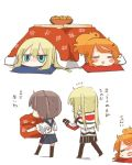 2koma 3girls =_= aquila_(kantai_collection) blonde_hair blue_eyes blush brown_hair chibi closed_eyes comic flying_sweatdrops food from_behind fruit graf_zeppelin_(kantai_collection) hair_ornament hairclip jitome kaga_(kantai_collection) kantai_collection kotatsu mandarin_orange multiple_girls open_mouth orange_hair pantyhose rebecca_(keinelove) sweat table tasuki thigh-highs translated under_kotatsu under_table