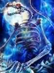 blue dragon kamigoku_no_valhalla_gate kapikun_(karsen513) no_humans original pile_of_skulls red_eyes shingoku_no_valhalla_gate skeleton standing