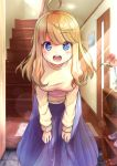 1girl :d ahoge bent_over blonde_hair blue_eyes blue_skirt blush breasts entrance flower hands_on_own_knees heart heart-shaped_pupils kzneet light_particles long_hair long_skirt long_sleeves looking_at_viewer medium_breasts open_mouth original picture_frame shelf shoes skirt smile solo stairs sweater symbol-shaped_pupils vase wooden_door