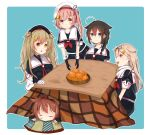 5girls absurdres ahoge asymmetrical_clothes beret black_gloves black_hair black_serafuku blonde_hair blue_background blue_eyes braid brown_eyes brown_hair closed_eyes flower food fruit gloves hair_flaps hair_flower hair_ornament hair_over_shoulder hair_ribbon hairband hairclip harusame_(kantai_collection) hat heterochromia highres huge_filesize kantai_collection kazama_gorou kotatsu long_hair looking_at_viewer mandarin_orange multiple_girls murasame_(kantai_collection) neckerchief partly_fingerless_gloves pink_hair red_eyes red_hairband red_neckwear remodel_(kantai_collection) ribbon school_uniform serafuku shigure_(kantai_collection) shiratsuyu_(kantai_collection) side_ponytail simple_background single_braid sleeping table two_side_up white_headwear yuudachi_(kantai_collection)