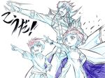 1girl 2boys ebina_hidekazu jack_atlas monochrome multiple_boys rin_(yuu-gi-ou_arc-v) simple_background traditional_media yuu-gi-ou yuu-gi-ou_arc-v yuugo_(yuu-gi-ou_arc-v)