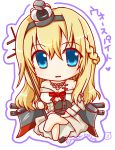 1girl blonde_hair blue_eyes blush_stickers bow bowtie chibi commentary_request crossed_legs crown dress eyebrows eyebrows_visible_through_hair hair_between_eyes highres jewelry kantai_collection long_hair looking_at_viewer mini_crown mochimako off-shoulder_dress off_shoulder red_bow red_bowtie simple_background solo translation_request warspite_(kantai_collection) white_background