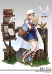1girl :o arm_guards armlet bag belt belt_pouch beret bird blue_dress blush board book_stack breasts brown_hair character_name clover copyright_name crystal curry_bowl dove dress envelope flower full_body fur_trim gradient gradient_background grass greek_mythology grey_background hat hermes_(mythology) highres kunikida_hanamaru letter long_hair love_live! love_live!_sunshine!! medium_breasts mushroom paper plant reading sandals scroll shoes short_dress shoulder_bag sleeveless staff standing string surprised torn_paper tree_stump white_cape white_hat winged_shoes wings yellow_eyes