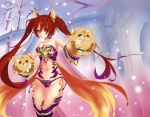 1girl absurdres animal_ears armor armored_boots bare_shoulders bell bell_collar bikini_armor boots breasts cerberus_(shingeki_no_bahamut) cleavage collar collarbone dog_ears grin highres long_hair medium_breasts mrnn panties purple_panties red_eyes redhead shingeki_no_bahamut side-tie_panties smile solo strapless twintails underwear