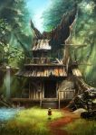 1girl balcony bow dress from_behind grass highres house livee minigirl original path railing rapt_(47256) road ruins scenery short_hair silver_hair sky solo stairs stream sunlight tree tree_stump treehouse water waterfall