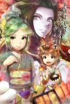1boy 2013 2girls azumi_(tks-sd) black_hair blue_eyes brown_hair chopsticks green_eyes green_hair japanese_clothes kid_icarus kid_icarus_uprising kimono long_hair looking_at_viewer multiple_girls palutena pit_(kid_icarus) smile snake super_smash_bros. tied_hair translation_request wii_fit wii_fit_trainer