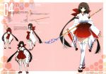 1girl absurdres brown_hair concept_art crossed_legs highres holding holding_weapon japanese_clothes kumon_waka long_hair looking_at_viewer miko naginata open_mouth phantom_breaker polearm sandals simple_background solo standing suzuhira_hiro thigh-highs very_long_hair weapon white_legwear wide_sleeves