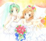 bouquet bridal_veil bride brown_hair dress flower foreshortening ginta_(pixiv) gloves green_eyes green_hair hair_ornament hands higurashi_no_naku_koro_ni jewelry long_hair necklace ponytail ryuuguu_rena short_hair sonozaki_mion tiara veil wedding_dress