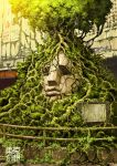 highres no_humans original overgrown roots scenery sign statue tokyogenso tree