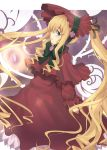 blonde_hair blue_eyes bonnet bow dress drill_hair frills long_hair rozen_maiden shinku very_long_hair